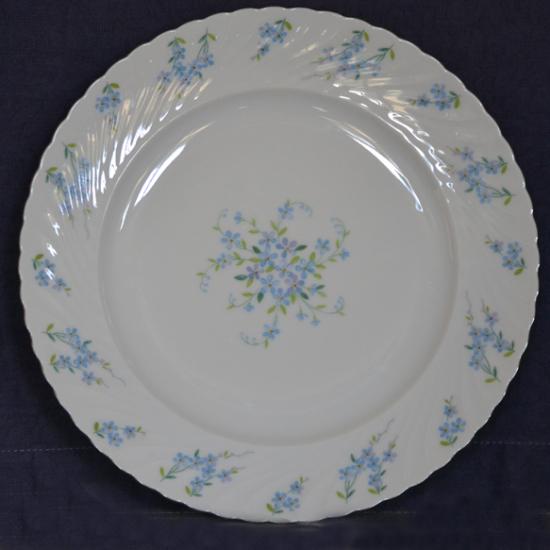 Assiettes plates Myosotis porcelaine de Bavière