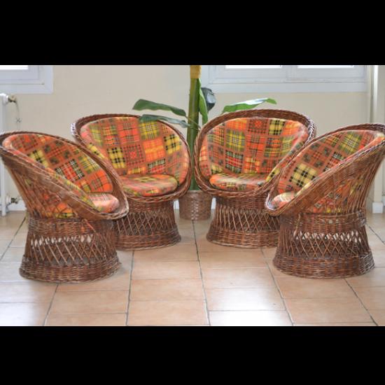 Salon en rotin 4 fauteuils