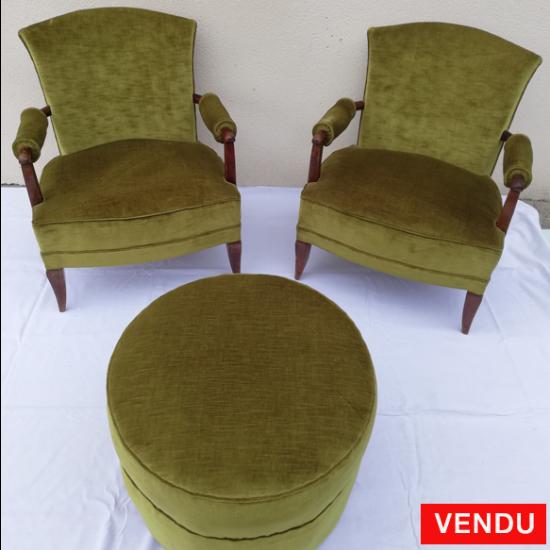 Ensemble fauteuils et pouf 1940