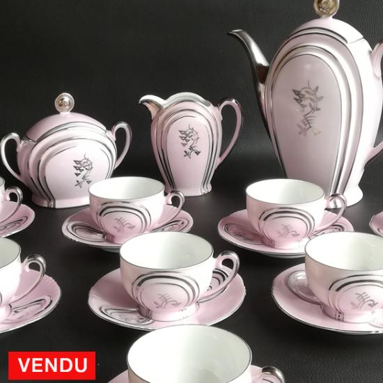 Service à café rose porcelaine allemande 1945