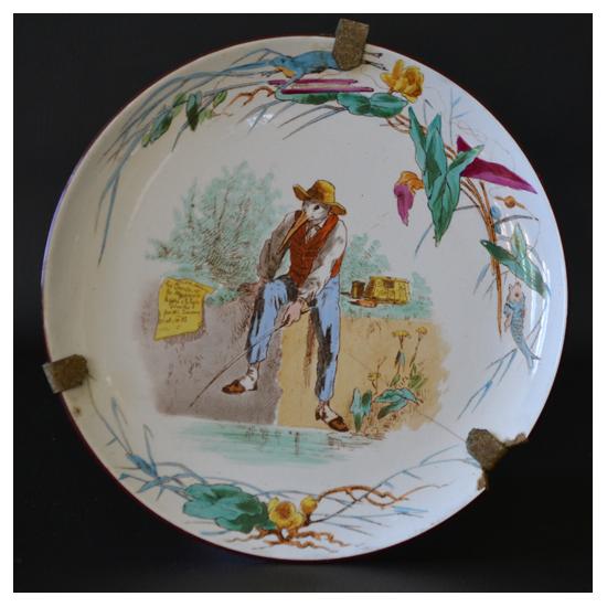 Jules Vieillard - Assiette en faience - Les animaux humanisés 19ème