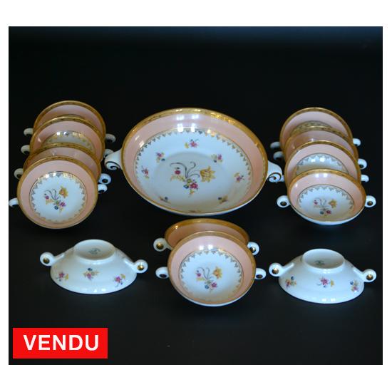 Service ancien à fruits en porcelaine de Limoges