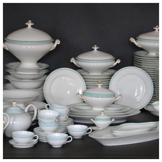 Service de table ancien en porcelaine de Limoges 1890/1910