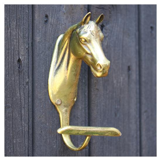 Peerage - 5 Patères anciennes tête de cheval en laiton massif - 1945