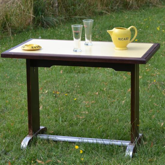 table bistrot ancienne ann es 1950 60 bois formica jaune. Black Bedroom Furniture Sets. Home Design Ideas